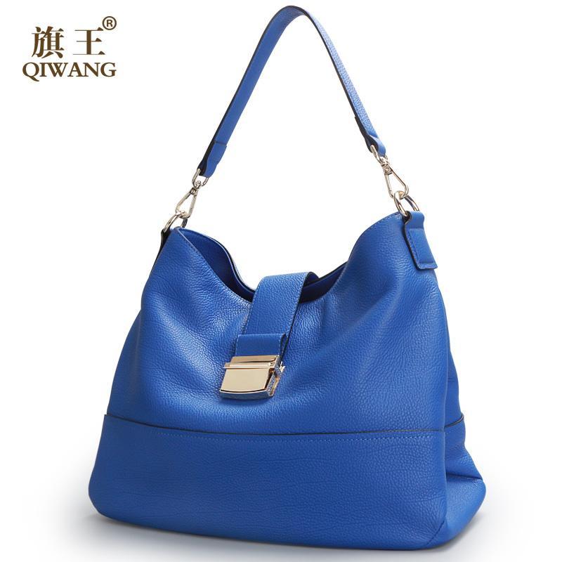 817a196c8dece1 Großhandel Qiwang Blau Weiche Echtes Leder Frauen Hobo Bag Leder Blau Marke  Handtasche Frauen Eimer Tasche Kette Strap Von Windclot, $108.31 Auf  De.Dhgate.