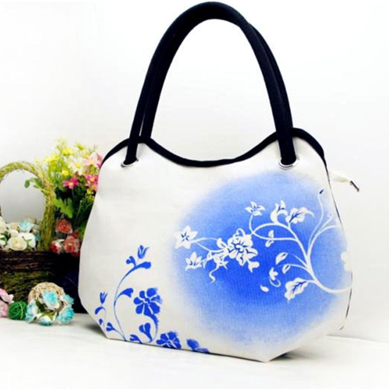 93a285f8a0 Fresh 2015 New Handbags Zipper Casual Tote Unisex Flower Prints Chinese  Style Cotton Canvas Painting Messenger Flower Bambo Bags Handbags For Women  Leather ...