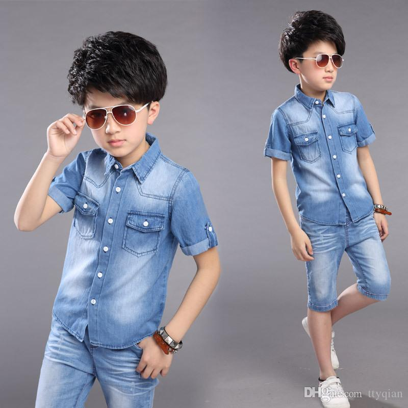 2019 New 2018 Boys Children Clothes Student Summer Denim T Shirt And Shorts  Jeans Sets For Baby Teens Boys Kids Suits Clothing 5 14 Years From Ttyqian e1d0832ba0cf