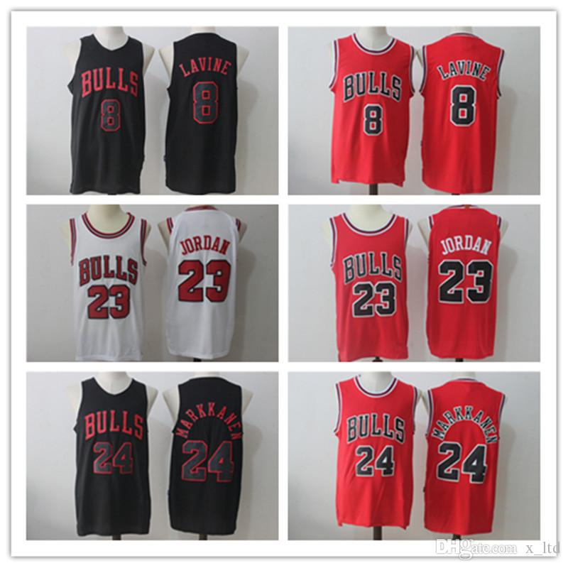 8093c34d5 ... free shipping 2018 new mens 8 zach lavine 24 lauri markkanen 23  basketball jerseyred white black