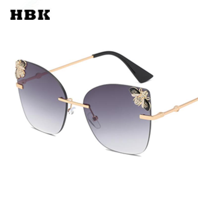 fc0ed8aa1fb31 Compre HBK Cat Eye Sem Aro Modis Óculos De Sol Abelha Oculos Big Vintage  Mulheres Marca Designer De Luxo 2019 Óculos De Sol De Presente De Alta  Qualidade ...
