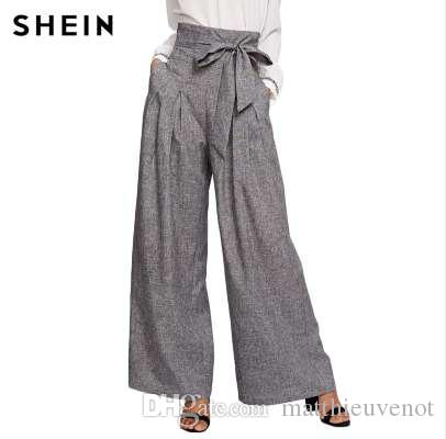 2ce2c81808 2019 SHEIN Wide Leg Pants Women Zipper Fly Loose Trousers Women 2018 Grey  High Waist Self Belted Box Pleated Palazzo Pants From Matthieuvenot, ...