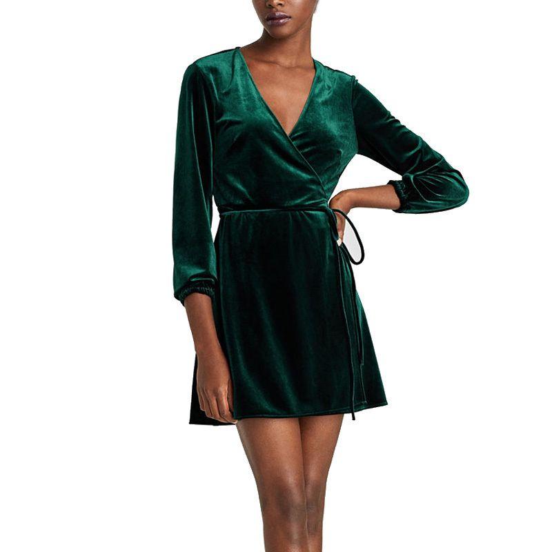 Elegant V Neck Wrap Dress Women Winter Long Sleeve Velvet Dress Femme 2018  Short Party Dresses Robe Hiver Lime Green Dresses For Juniors Cheap Yellow  ... 8d3fd6863