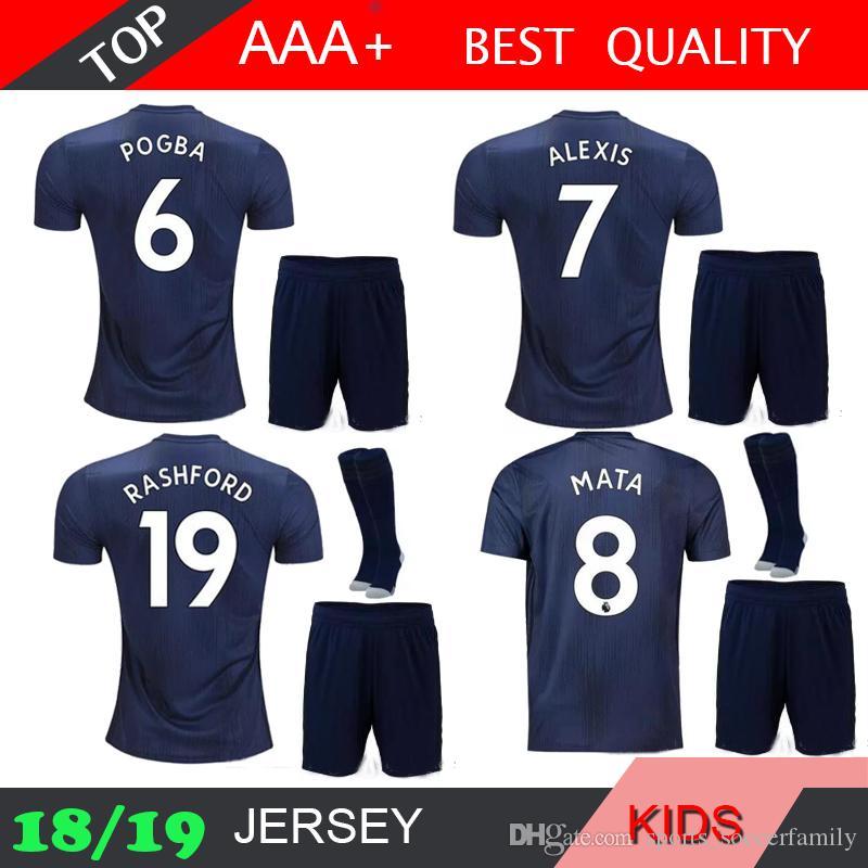 d39bdae9ad6 2019 Alexis POGBA Ibrahimovic LUKAKU Kids Kits 18 19 Soccer Jersey 2018  2019 Rooney Rashford MATA MAN Kids U Home Away 3RD Football Shirts From ...
