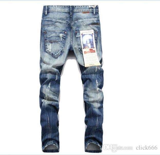 c6f12979363bf9 2019 Ripped Jeans For Men Beckham Skinny Distressed Slim Famous Brand  Designer Biker Hip Hop Swag Tyga White Black Jeans Kanye West From  Click666, ...