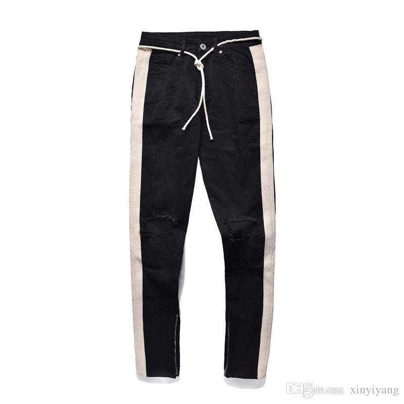 Nuevo amante pantalones vaqueros de rayas blancas retro rodillas grandes agujeros destruidos Sole Streetwear pierna cremallera lado delgado Jean