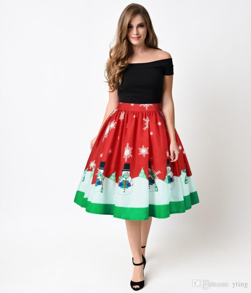 06d8900a212a4d Christmas digital print women's skirt boutique women's pleated skirt plus  size s-XL 7 types free shipping
