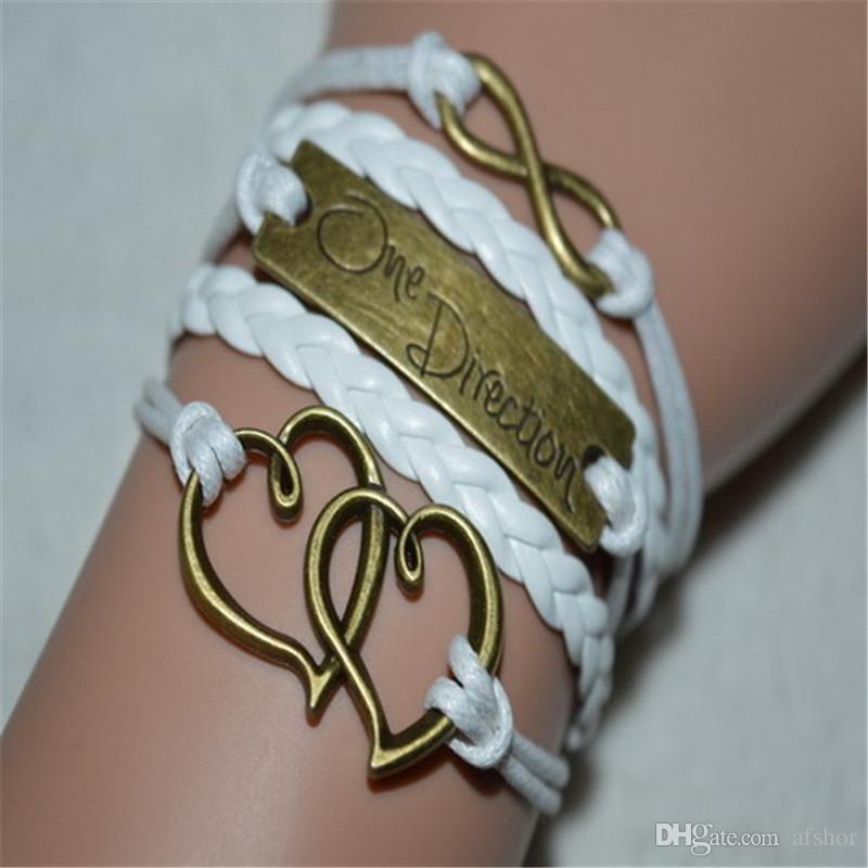 AFSHOR Mode Dream Believe Love Cross Aircraft One Direction Cuir Infinity Wrap Bracelet Bracelet Pour Femmes Bijoux À La Main Meilleur Cadeau