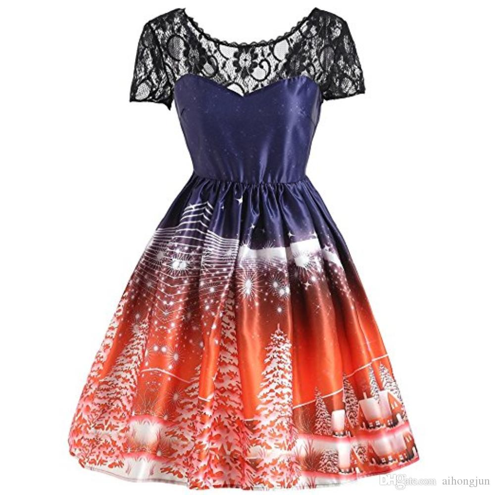 2018 lace vintage christmas dress women winter v back knee length retro red blue party max fasta lace christmas party dress formal cocktail dresses dresses - Vintage Christmas Dress