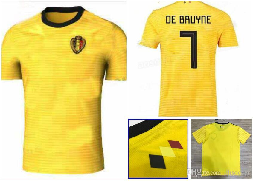 2018 World Cup Belgium Soccer Jersey Away Yellow 7  DE BRUYNE Soccer Shirt  9 R. LUKAKU 10 E. HAZARD Custom Football Uniforms UK 2019 From Dhsoccer 52770591f