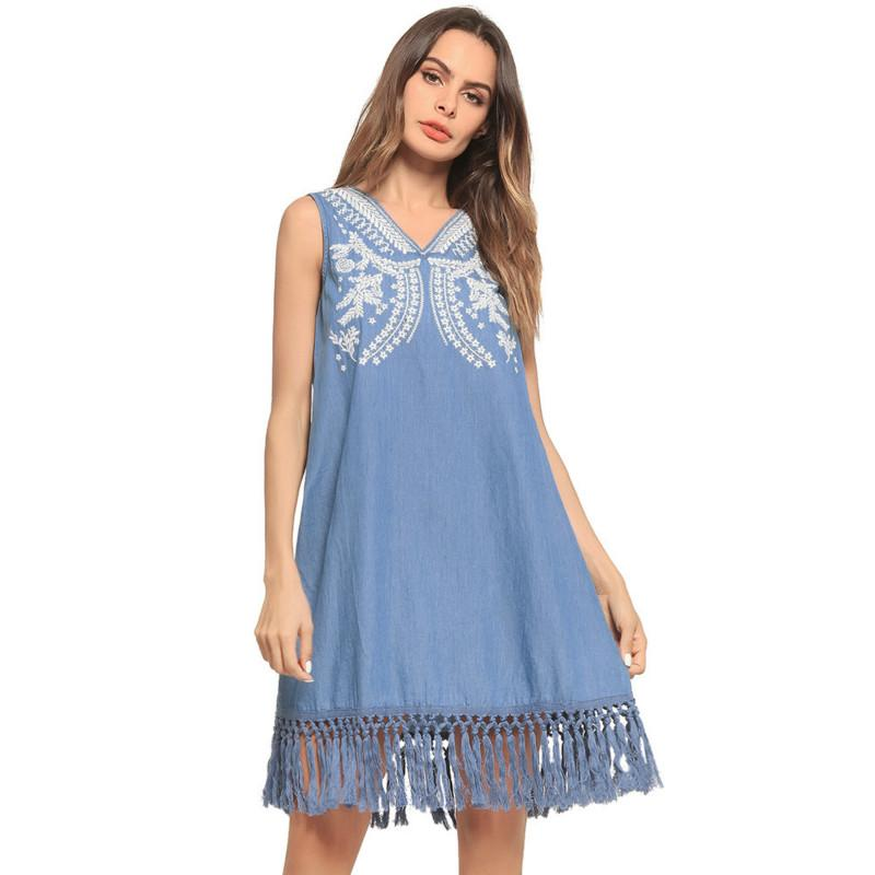 66bfd625cd Summer Denim Dresses Sleeveless Casual A Line Dress Women V Neck Embroidery  Loose Tassel Blue Jean Dresses Long Sundresses For Women Clothes For Black  Women ...