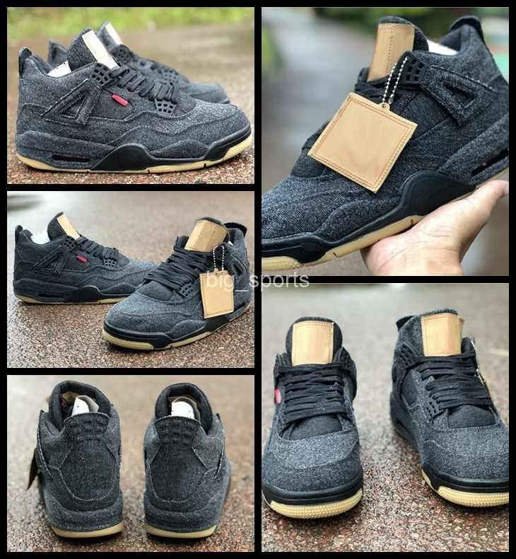 df286a3cccd5c6 2018 New Denim 4s Jeans 4 Men Basketball Shoes Black Jacket Fashion ...