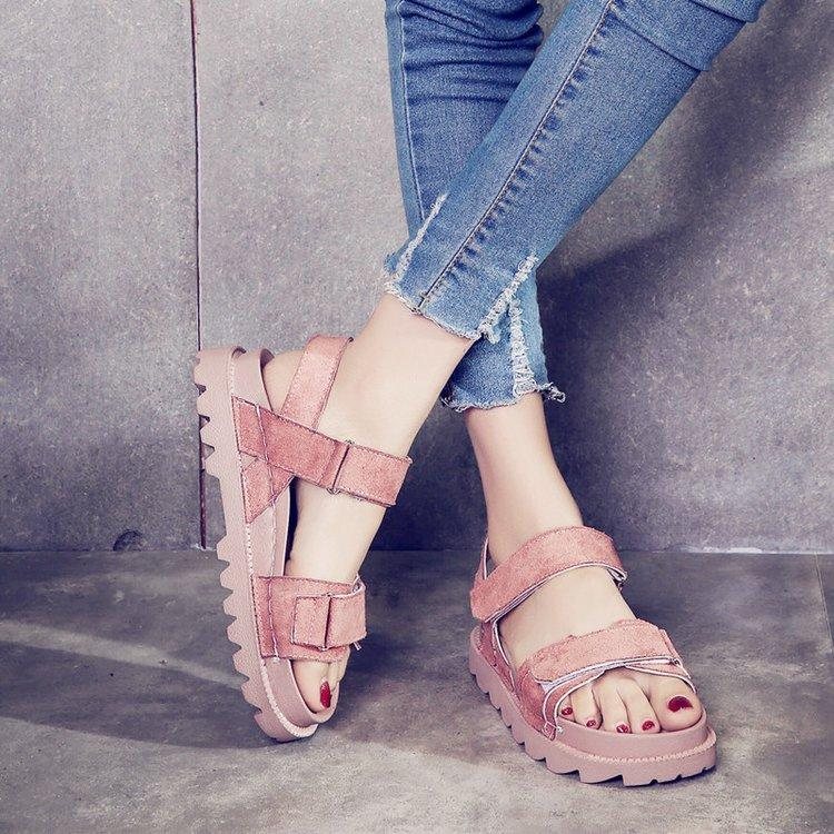 Classics Concise Summer Gladiator Women Sandals Gladiator Front Rear Strap Women Shoes Thick Soled Rome Sandals