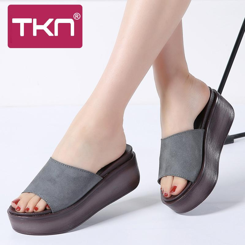 6481f20b84e3 TKN 2018 Summer Slippers Women Flat Platform Sandals Shoes Leather Suede  Slip On Round Toe Slides Shoes Flip Flops Women S99 Girls Shoes Bearpaw  Boots From ...