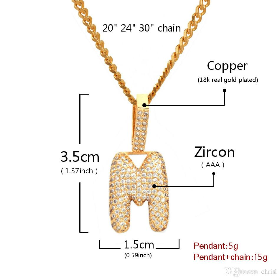 A-Z Custom Name Small Bubble Letters Pendant Necklace Charm For Men Women Gold Silver Color Cubic Zircon Hip Hop Jewelry Gift