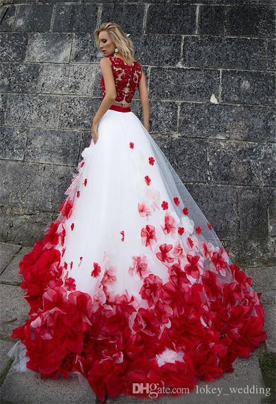 Red and White Long Prom Dresses 2017 Lace A-Line Top with 3D Flowers Sleeveless Tulle Evening Gowns Miss Beauty Pageant Dresses Plus Size