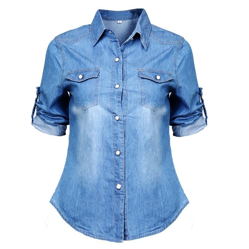 6105d9bec Compre 2018 Mujeres Niñas Nueva Moda Casual Azul Sólido Jean Denim Suave  Camisa De Manga Larga Tops Botón De Verano Bolsillos Blusa Caliente A   21.51 Del ...