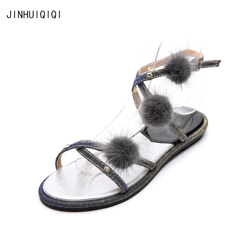c829409b505eea Women Sandals Casual Pompon Flat Sandals Shiny Rhinestone Women Gladiator  Sandals Fashion Holiday Boheme Summer Shoes Blue Shoes Cheap Sandals From  ...
