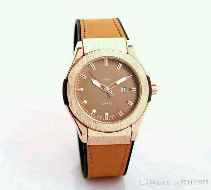 Reloj de los hombres de alta calidad de lujo Fecha automática Reloj de primeras marcas de las mujeres Casual Dial Negro de cuero de silicona Pin hebilla reloj de regalo