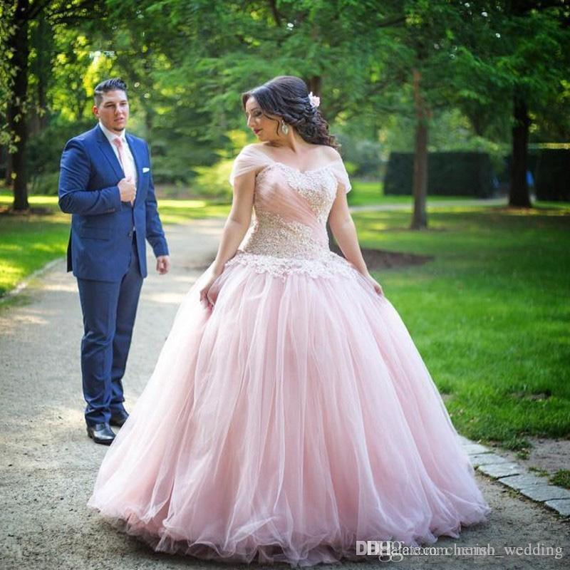 Plus Size Ball Gown Wedding Dresses Lace Applique Short Sleeves Off ... 27a2608d1c0a