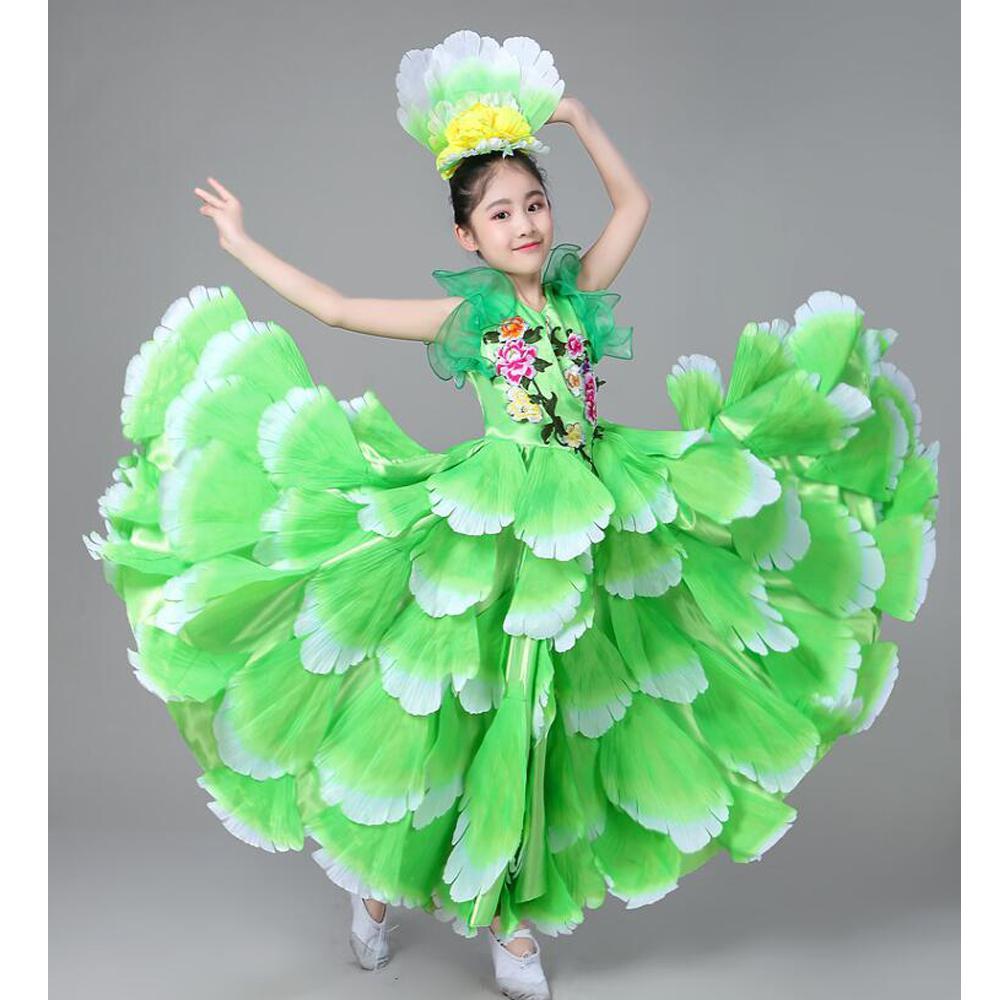 b9cc6d9e99cf8 Kids Spanish Dancer Costumes Sexy Flamenco Dancing dress Outfits Girl's  Performance Flowers Ballroom Dance Dress 360 Degrees