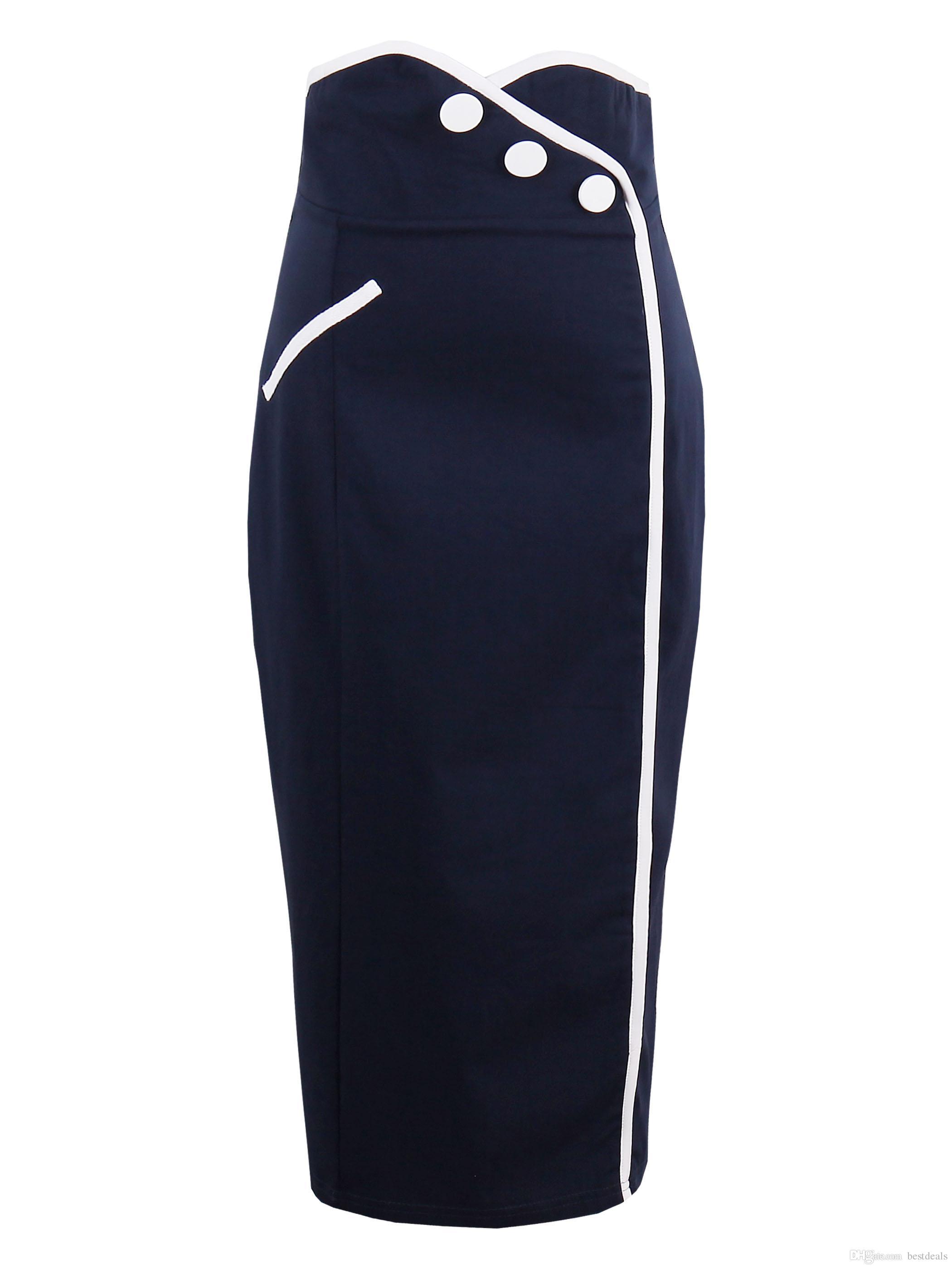 901be9bfe4a Compre Elegante 2018 Mujeres Falda Azul Marino Falda Midi Slim OL Sexy  Botón Falda Lápiz Delgado S 2XL FS5002 A $19.88 Del Bestdeals | DHgate.Com
