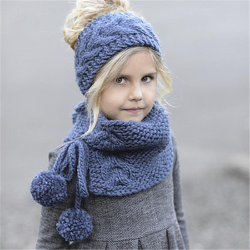 ba5c54c46cc Baby Girls Boys Knitting Headband Caps Children Hats Scarves Sets Winter  Crochet Hair Band Children Knitted 2 IN 1 Scarf Hat