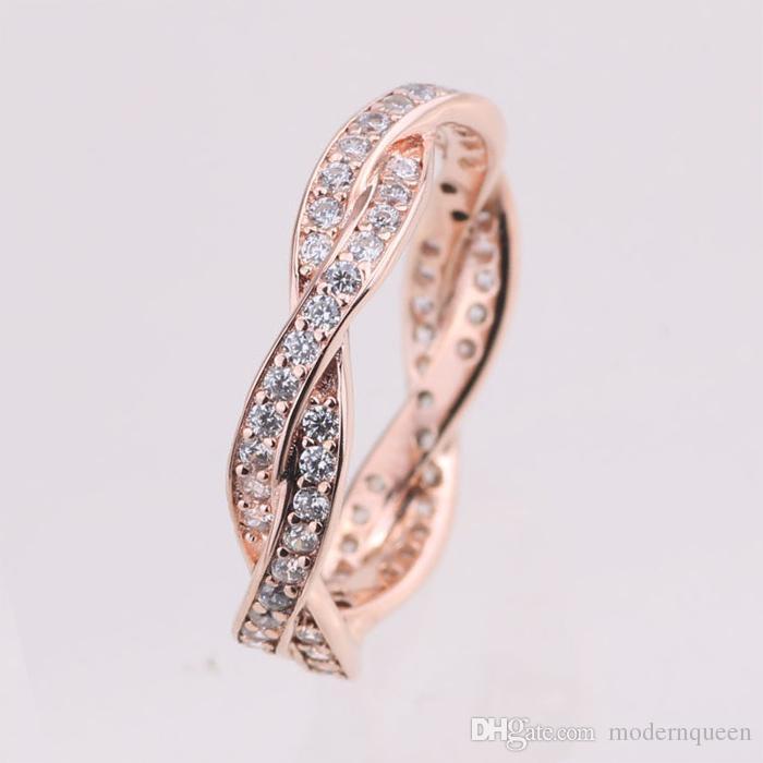 Rose Gold Twist of Fate Ring Original Silver Adatto gioielli in stile Pandora 180892CZ H8