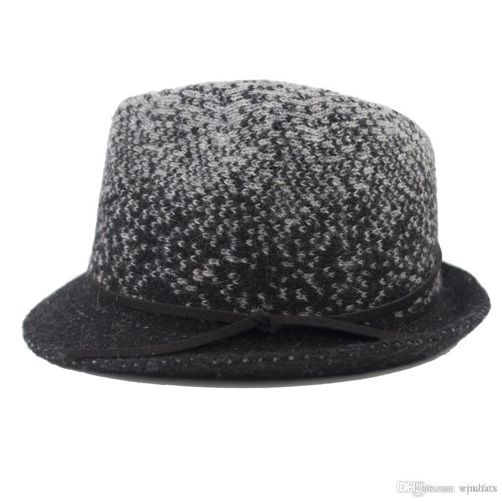 2475126d5f505 2019 Stingy Brim Jacquard Knit Wool Man And Woman Fedora Hat Winter Trilby  Hat Christmas Gift EPU MH1860 From Epuhats