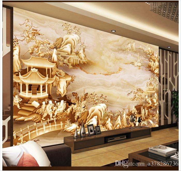 f4a9285f6 Compre Papel De Parede 3D Personalizado Foto Mural Papel De Parede Chinês  Em Relevo Paisagem Sala De Estar TV Papéis De Parede De Fundo Decoração Da  Sua ...