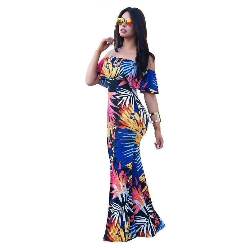 8859d90f2 Compre Mujeres Boho Maxi Vestido 2018 Nuevo Estilo De Verano Fuera Del  Hombro De Impresión Con Volantes Vestidos Largos Femenino Piso De Longitud  Vestido ...