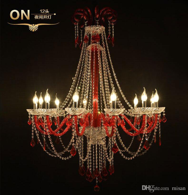 Cheap K9 Crystal Chandelier Lamp with Candle in Red/Blue/Gold/Black for Living dining room lustres de cristal Decoration lights Chandeliers