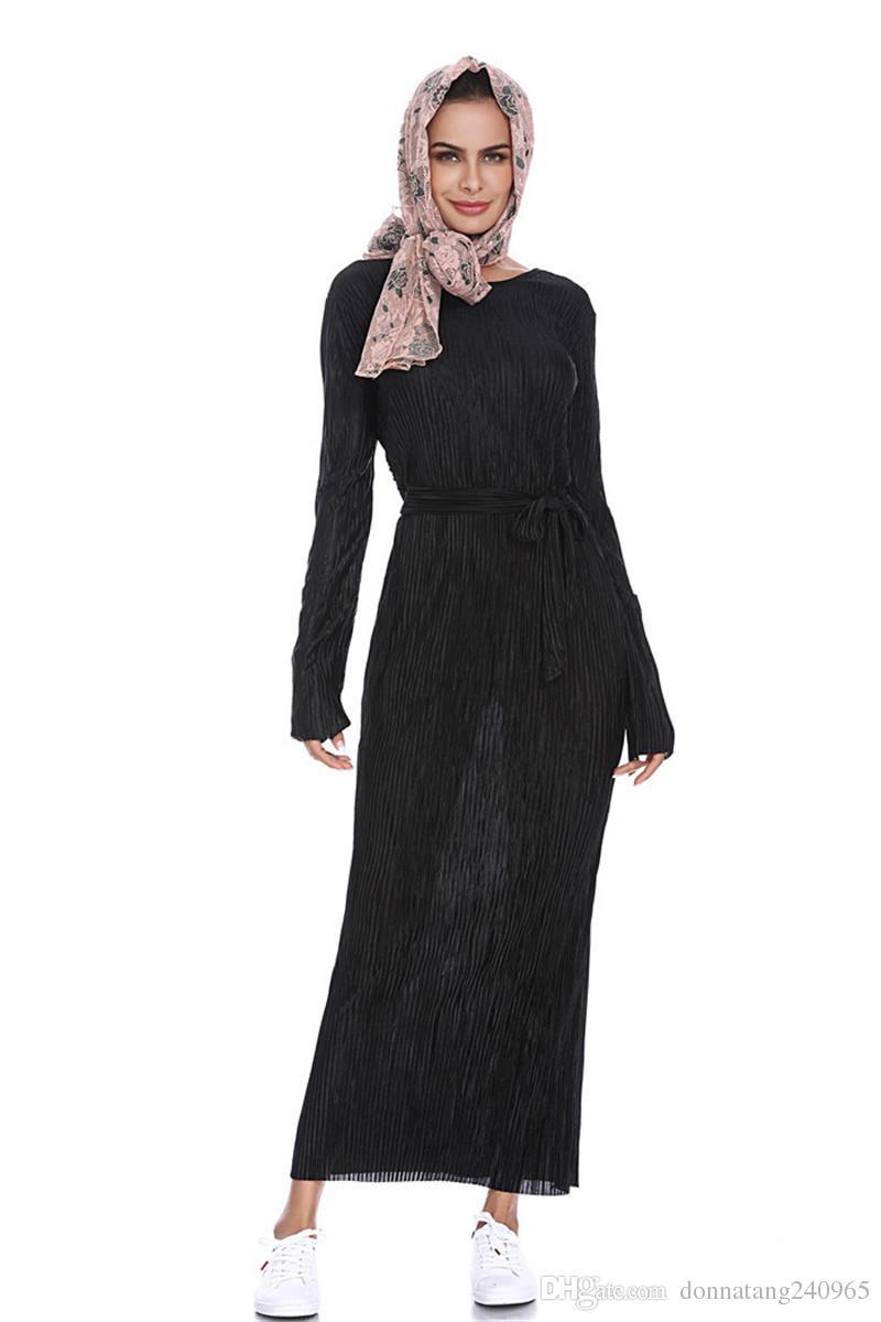 Последний Элегантный Мусульманский Арабский Абая Кафтан Исламская Одежда Хиджаб Мода Мусульманское Платье Дизайн Женщины Черный Дубай Абая