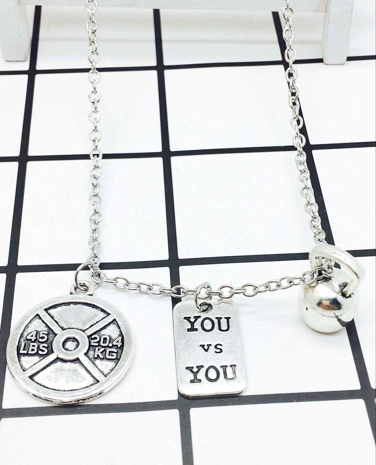 Wholesale 2018 New Hot Sell Antique Silver 45lbs&You And You+Kettlebell  Charms Fitness Pendant Necklace Creative Fashion Women Jewelry Holiday Gift  ...