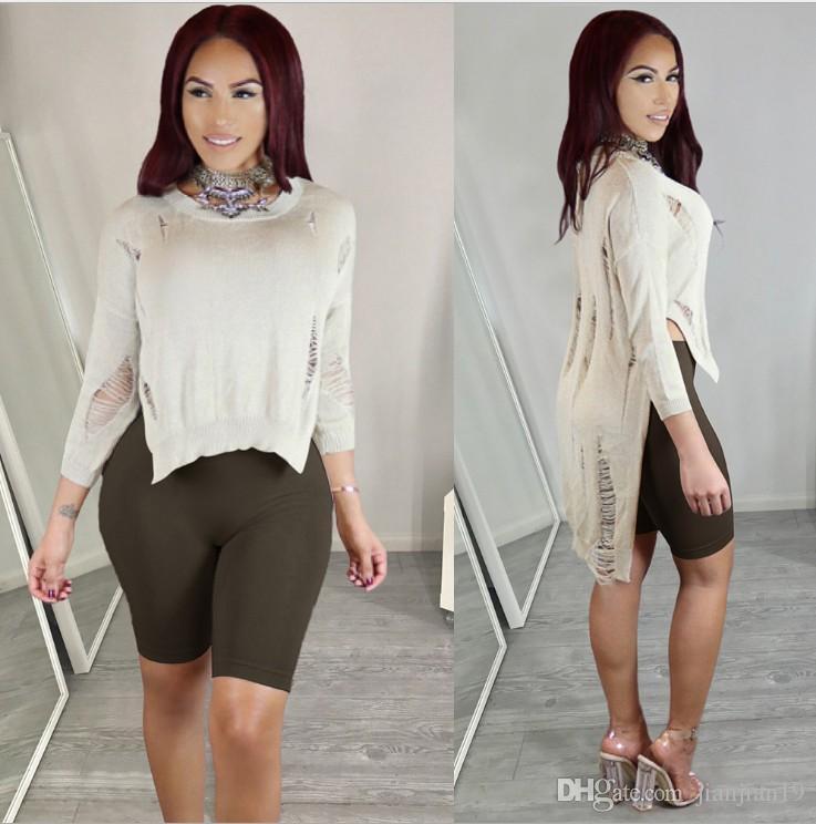 Modelos de explosión MY036 Europa y los Estados Unidos de punto sexy corto  corto suéter de rebeca largo moda ropa de mujer