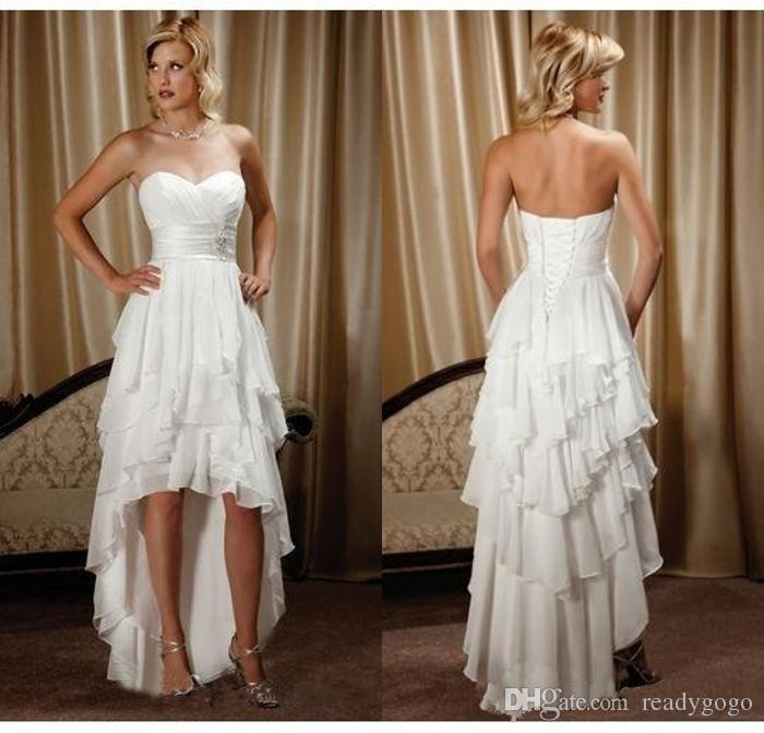 Short Front Long Back Country Western Wedding Dresses Sweetheart Chiffon High Low Bridal Gowns Cheap Beach Wedding Reception Dress