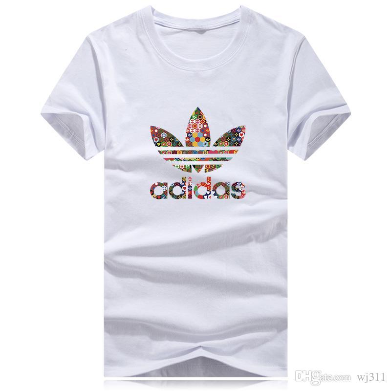 170b81d706cc1 Compre Gran Logotipo De Las Flores De Los Hombres Camisetas De Moda 2018  Hombres De La Marca De Manga Corta Camiseta De Los Hombres 100% Algodón  Camiseta ...