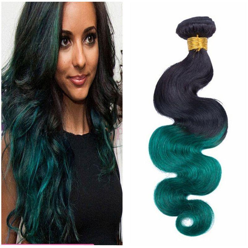 녹색 인간의 머리카락 Weaves 브라질 버진 2 톤 1b 그린 바디 웨이브 헤어 씨실 3 번들 아니 엉킴 말레이시아 인도의 머리카락
