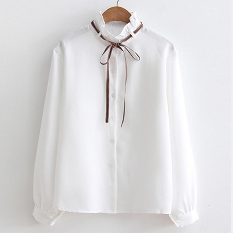 Sonbahar Kış 2018 Yeni Uzun Kollu Bluzlar Lotus yaprağı yaka Yay Gömlek Moda Kadın Katı Renk Vintage Bluz Kadınlar Tops T63