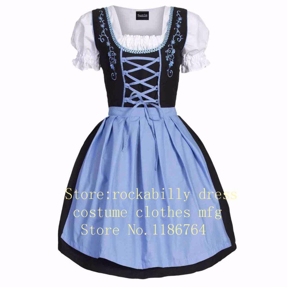 770b60e1ce078b Nouveau Festival de la bière Oktoberfest Octobre Dirndl Red Maid paysanne  jupe robe tablier Blouse robe costume de la fille allemande Fancy Dress ...