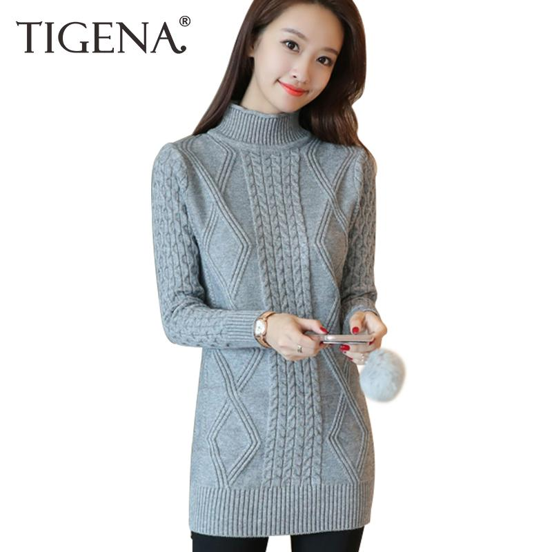 Long Women Knitted Warm 2019 Dress 2017 Autumn Sweater Thick Tigena OPkw08n