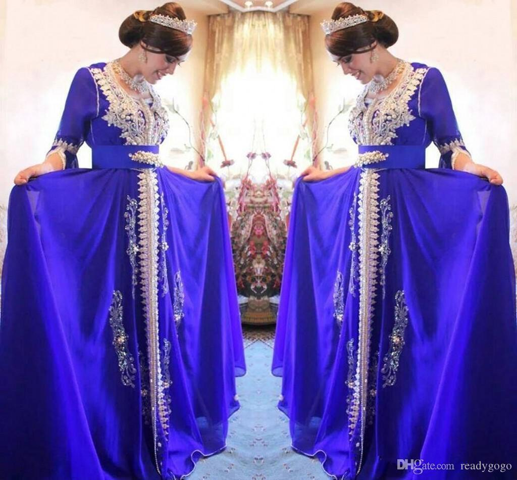 럭셔리 진주 페르시 파티 파티 드레스 Scoop Neck 3/4 Sleeve Sash Applique 지퍼 개장식 abaya pakistan 화려한 여성 쉬폰 이브닝 드레스
