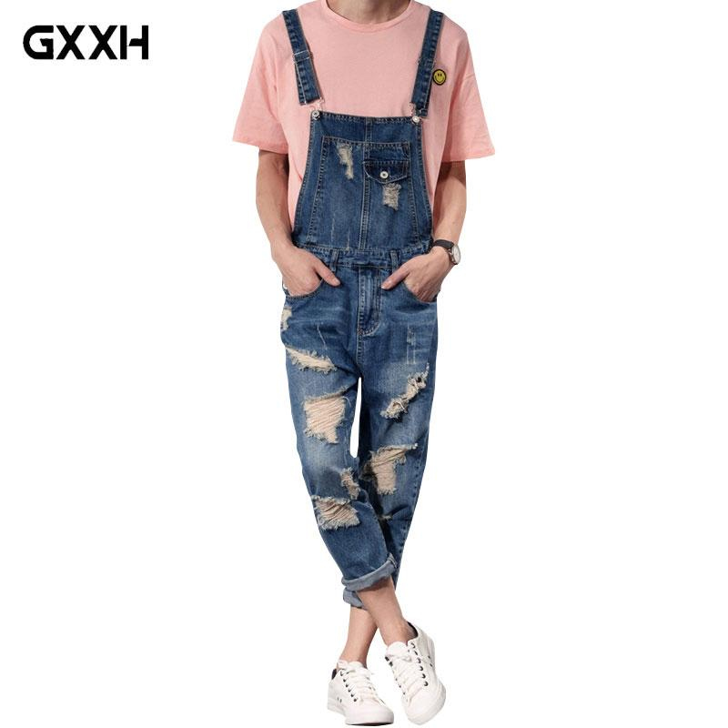 c37c11cd975c 2019 2018 New Mens Bib Overalls Fashion Ankle Length Denim Overalls Men  Ripped Jeans Male Denim Jumpsuit Tooling Trousers SIZE S 6XL From Cacy