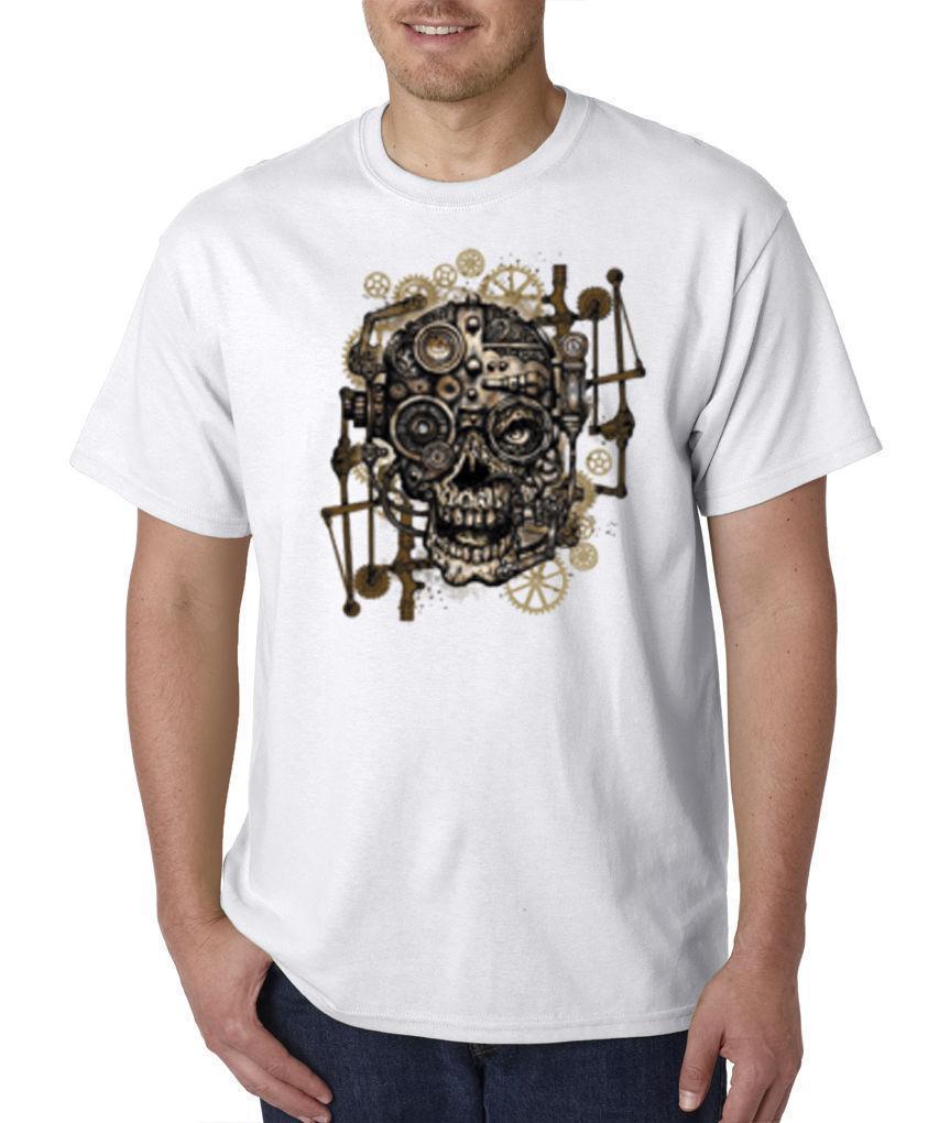 Skull Gears Science Fiction Steampunk Machine Cyborg T Shirt S 3XL Print T  Shirt Short Sleeve Men Top On Sale New Fashion Summer T Shirt Online Buy  Cool ... 2e540477597