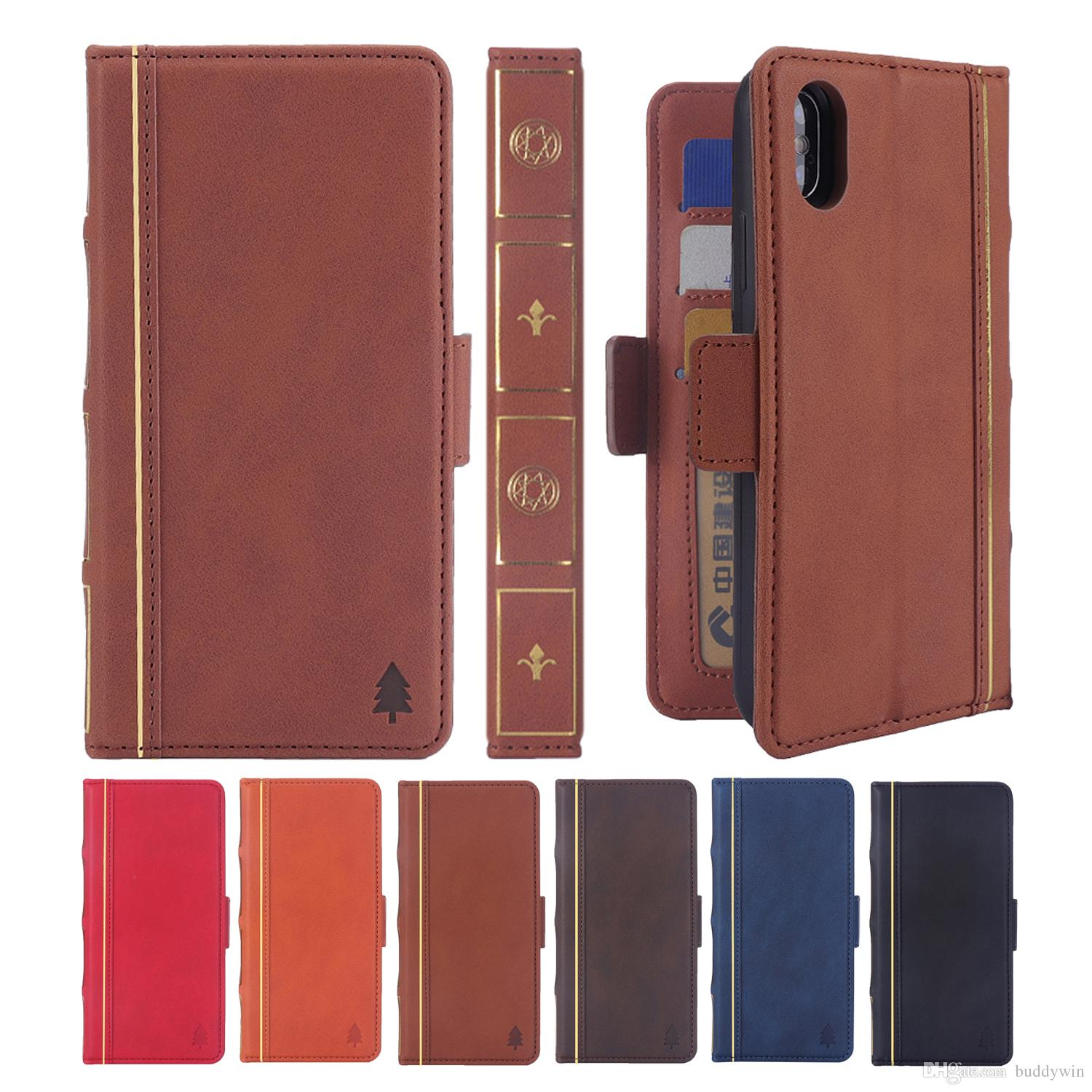 High-end wallet for iPhone8Plus book-type mobile phone leather case Samsung S9Plus split-type magnetic two-in-one iPhone X business stand