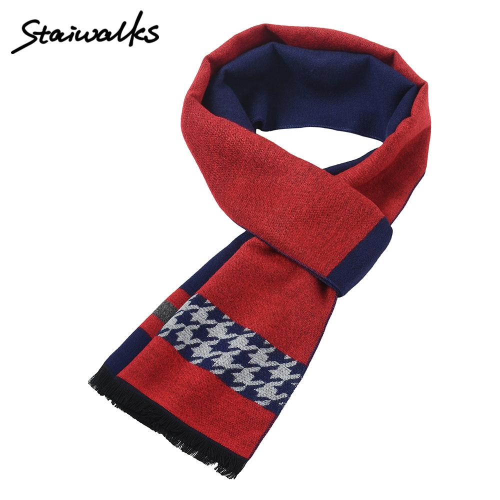 Staiwalks Man Tassels Neckerchief Striped Dove of Peace Print Jacquard Warmth Fashionable Chic Style Business Causal
