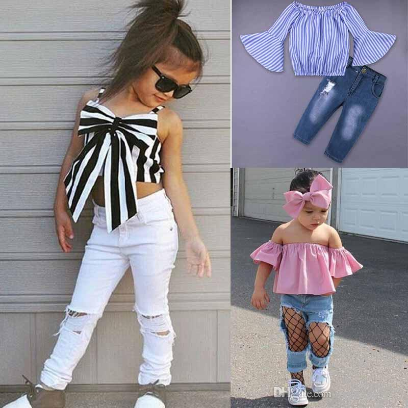 7d19985918d1f DHL free Europe kids clothing new styles Hot selling girl Summer sets  Strapless Striped shirt hole jeans girls clothes girls t shirt set
