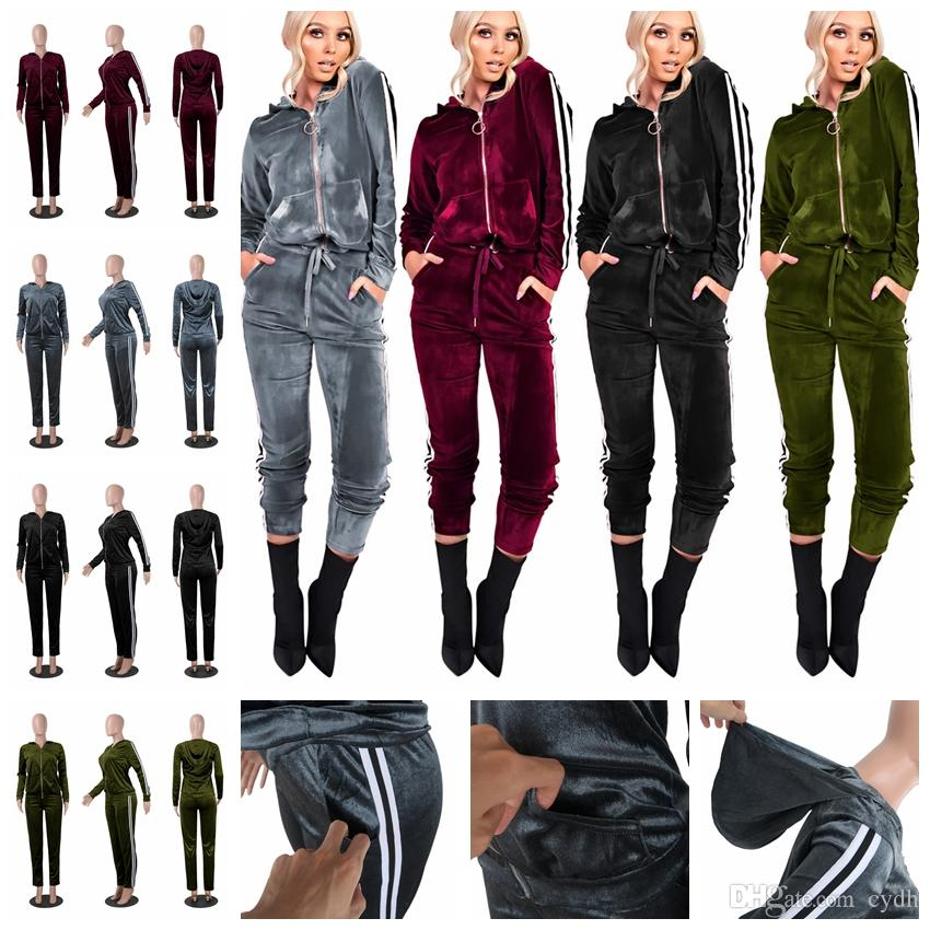 241a7b7b4e6d 2019 European Pure Color Sexy Zipper Coat Band Stripe Club Suit ...