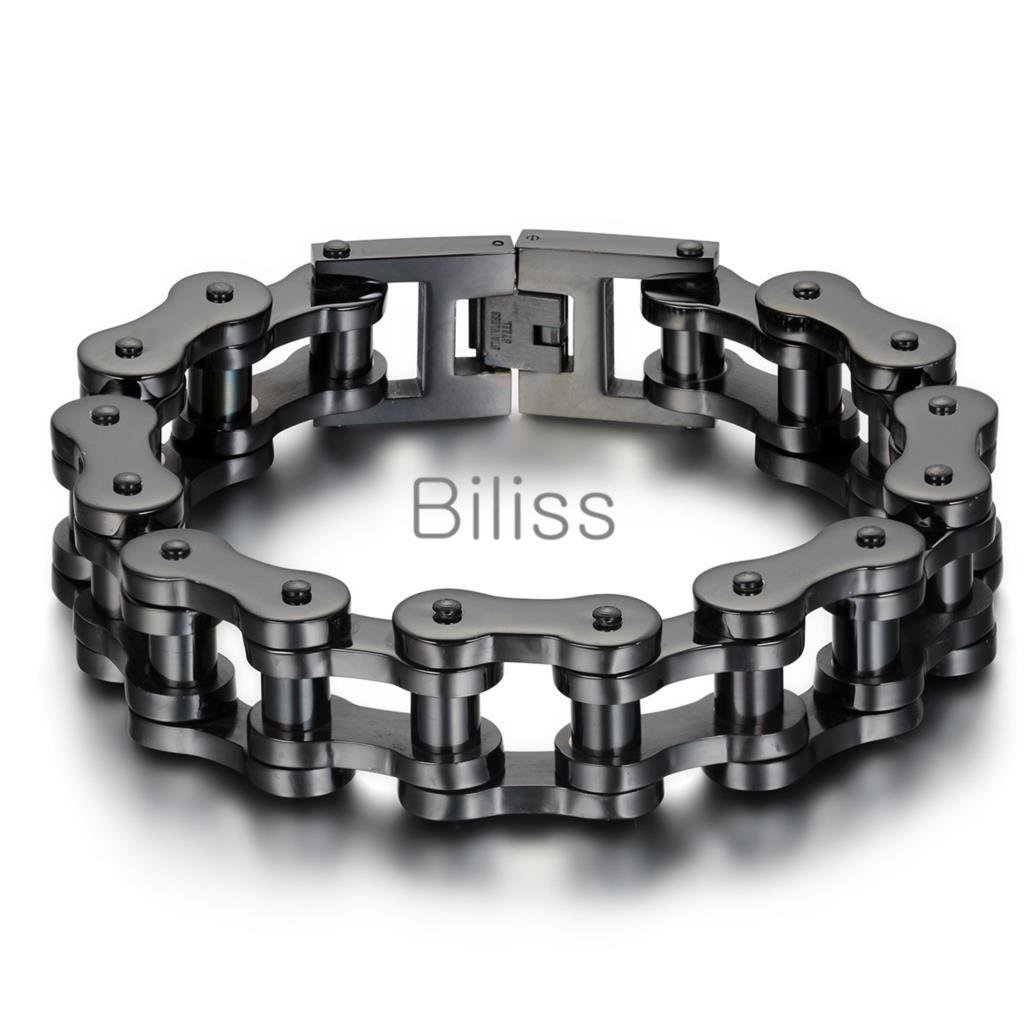 Black/Silver Heavy Wide Stainless Steel Bracelet 23cm*18mm Men Biker Bicycle Motorcycle Chain Men's Bracelets Mens Bangles
