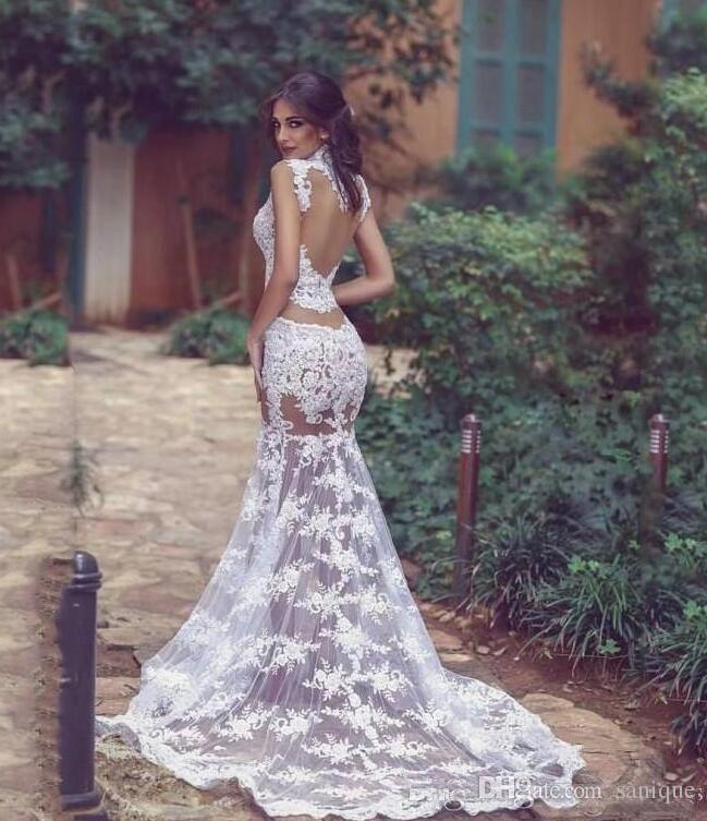 Durchsichtig Brautkleider Sexy High Neck Sleeveless Mermaid Brautkleider Sheer Backless Sweep Zug Hochzeit Vestidos Günstige